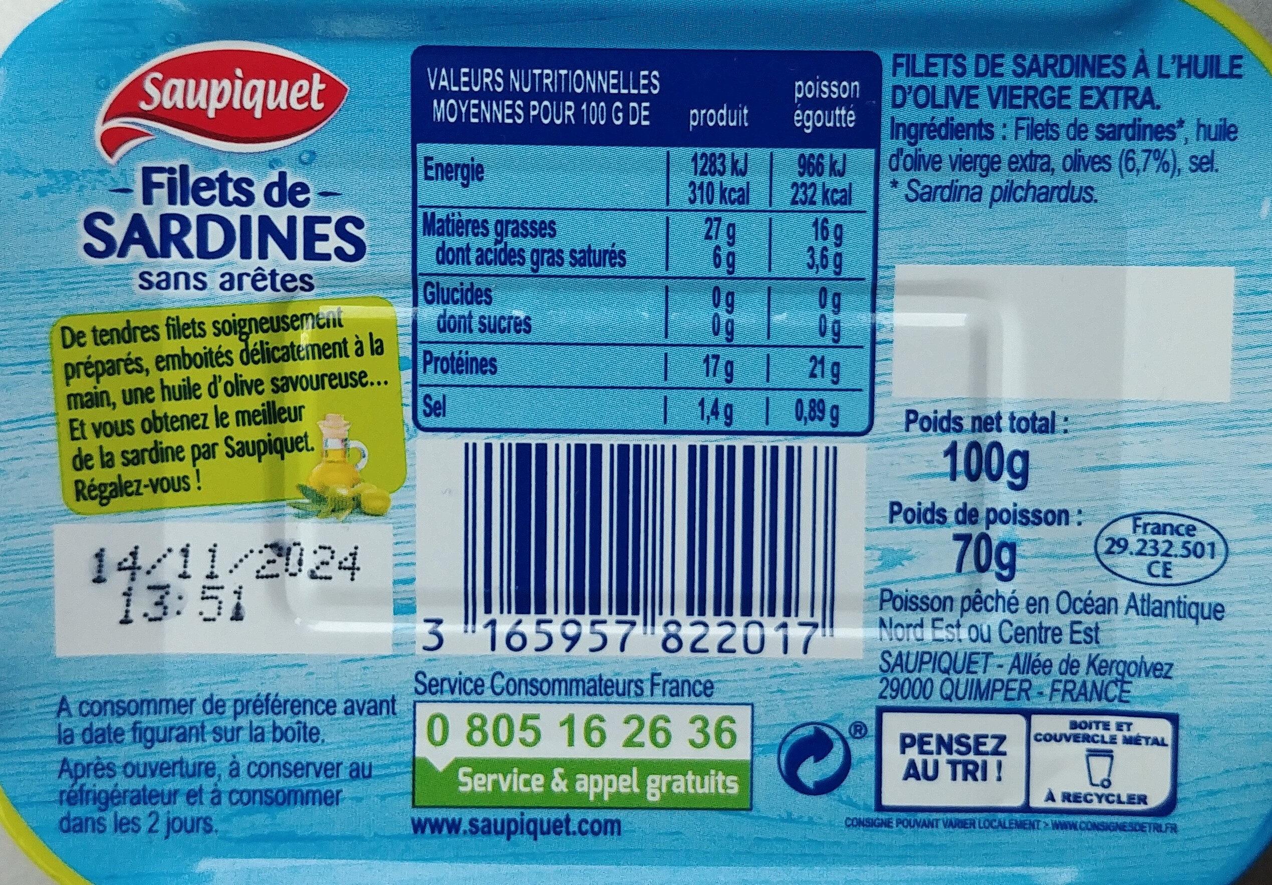 Filet de sardines - Nutrition facts - fr