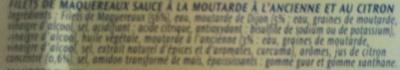 Filets de Maquereaux (Moutarde à l'ancienne et au citron) - Ingrédients - fr