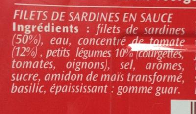 Filets de Sardines (à la Tomate et ses petits légumes) - Ingrediënten - fr