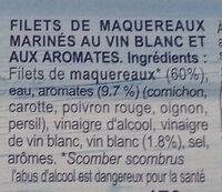 Fillet de Maquereaux vin blanc & aromates - Ingrediënten - fr