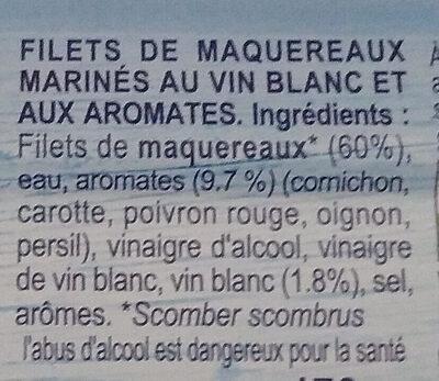 Fillet de Maquereaux vin blanc & aromates - Ingredienti - fr