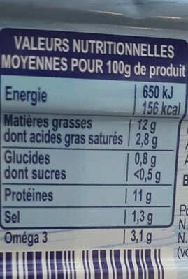 Fillet de Maquereaux vin blanc & aromates - Voedingswaarden - fr