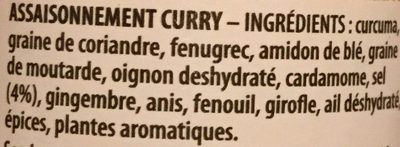 Curry Ducros - Ingrediënten - fr