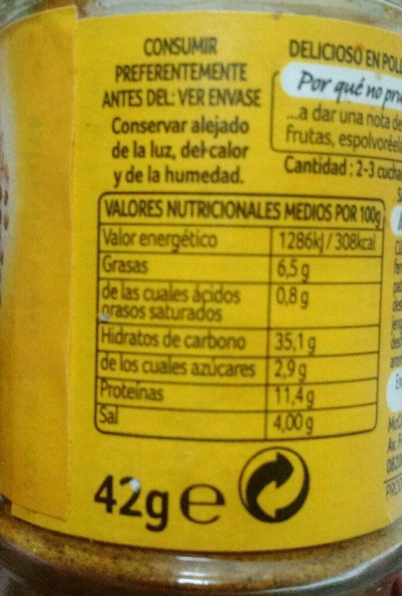 Curry Ducros - Voedingswaarden - fr