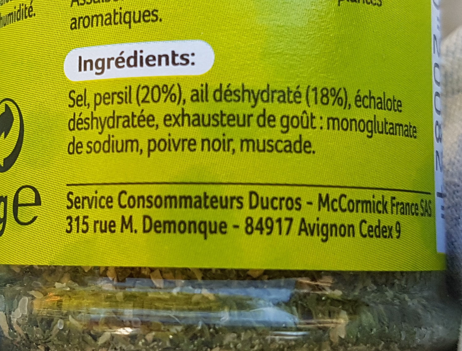 Persillade - Nutrition facts