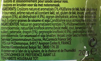 Ducros Salade Croustillante Aux Noix Sachet 20G - Ingrediënten