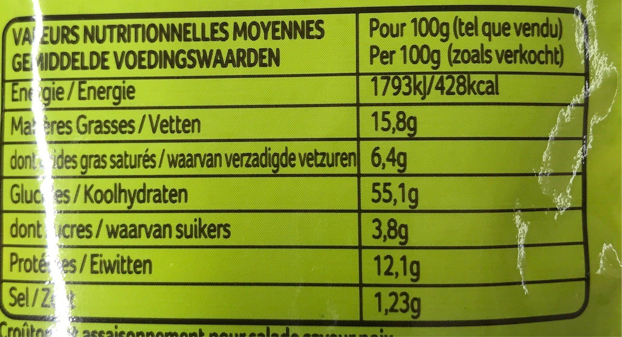 Ducros Salade Croustillante Aux Noix Sachet 20G - Voedingswaarden
