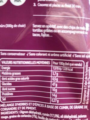 Melange pour guacamole - Información nutricional - fr