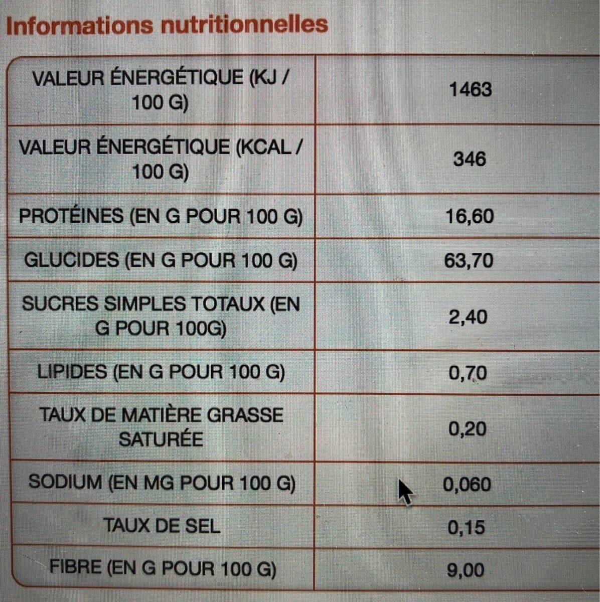 Ail semoule Ducros - Informations nutritionnelles - fr
