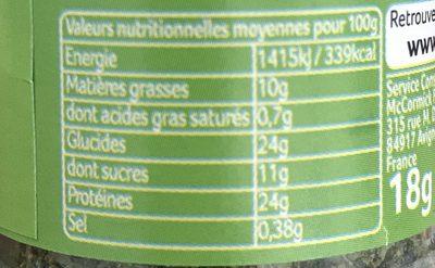 Mélange pour salade, ciboulette, estragon et ail - Voedigswaarden