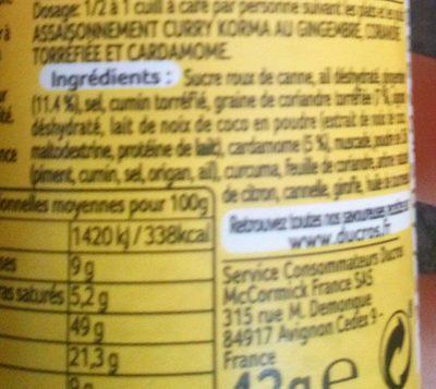 Curry Korma doux force 2 - Ingrédients