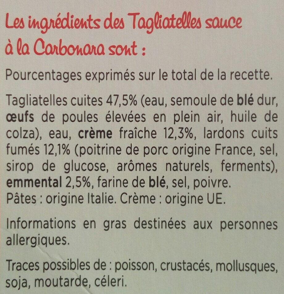 Tagliatelles à la Carbonara - Ingrédients - fr