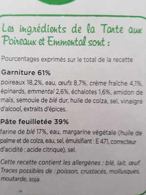 Tarte aux Poireaux, Emmental et crème Fraiche - Ingrédients - fr