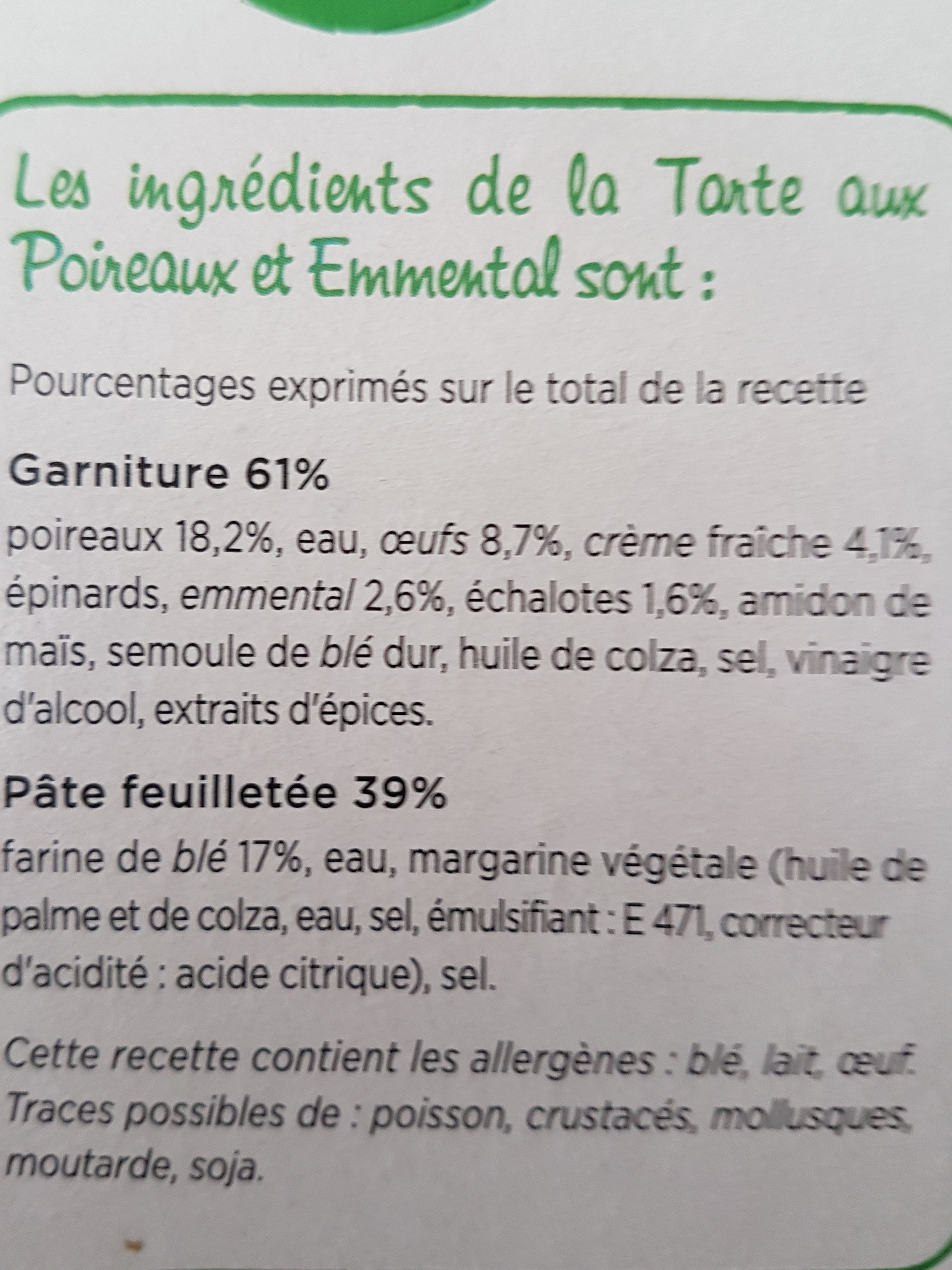 Tarte aux Poireaux, Emmental et crème Fraiche - Ingrédients