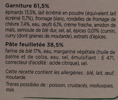 Tarte Chèvre Epinards - Ingrédients