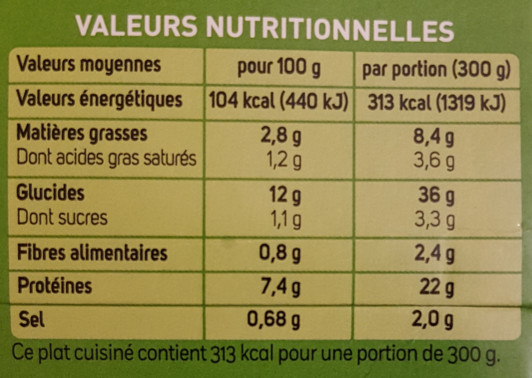 Tagliatelles au Poulet, Champignons, Crème - 营养成分 - fr