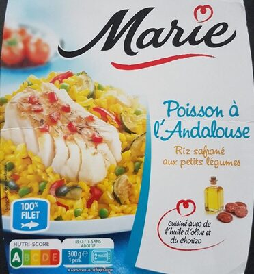 Poisson à l'Andalouse, Riz safrané aux petits légumes - Produit - fr