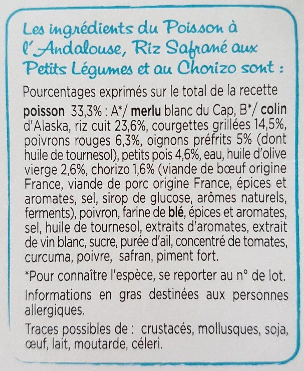 Poisson à l'Andalouse, Riz safrané aux petits légumes - Ingrédients - fr