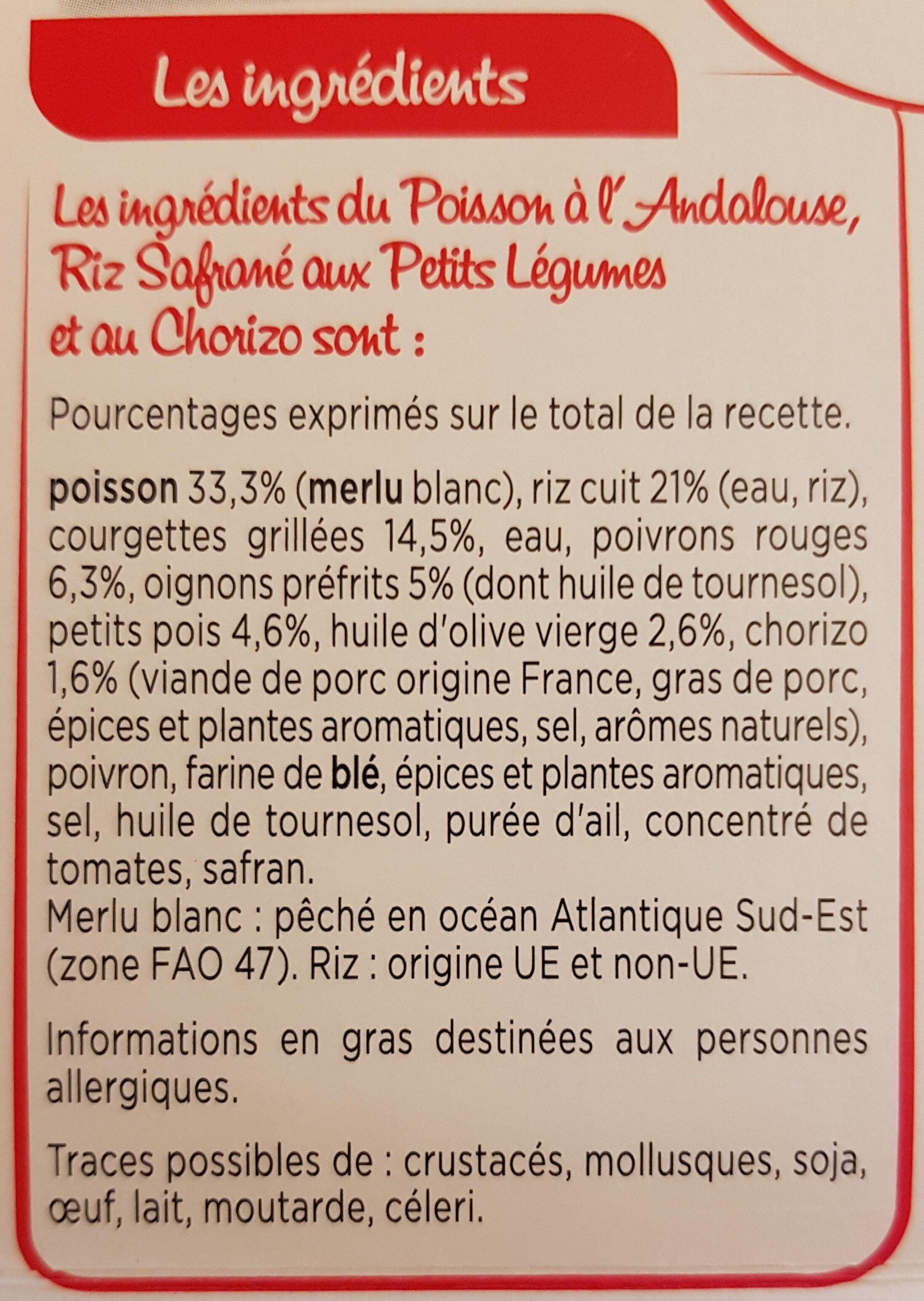 Poisson à l'andalouse riz safrané et courgettes grillées - Ingrédients - fr