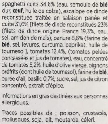 Escalope Milanaise, Dinde 100% filet - Ingredienti - fr