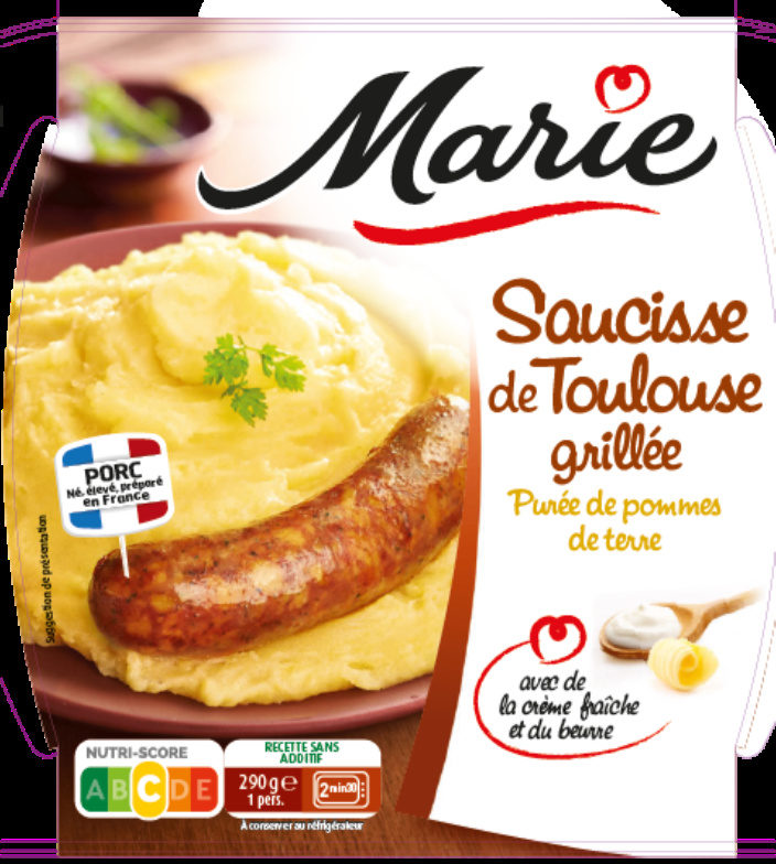 Saucisse de Toulouse grillée, Puree de pomme de terre - Produit - fr