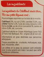 Cabillaud Sauce Citron, Riz aux Petits Légumes - 成分 - fr