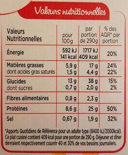 Cabillaud Sauce Citron, Riz aux Petits Légumes - 营养成分 - fr