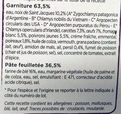 Tarte Noix de St Jacques, petits légumes cuisinés - Ingrédients