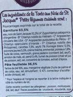 Tarte aux Noix de St Jacques, Petits Légumes Cuisinés - Ingrédients - fr
