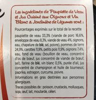 Paupiette de Veau - Jardinière de légumes - Ingredientes