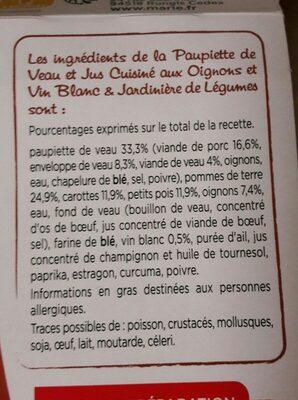 Paupiette de Veau, Jardinière de légumes - Ingrediënten - fr