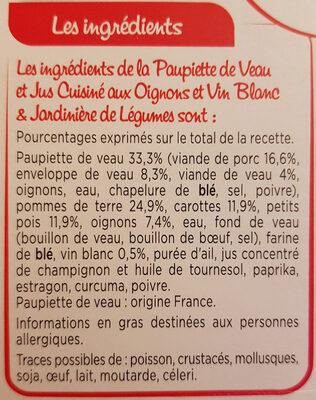 Paupiette de veau jardinière de légumes - Ingrediënten - fr