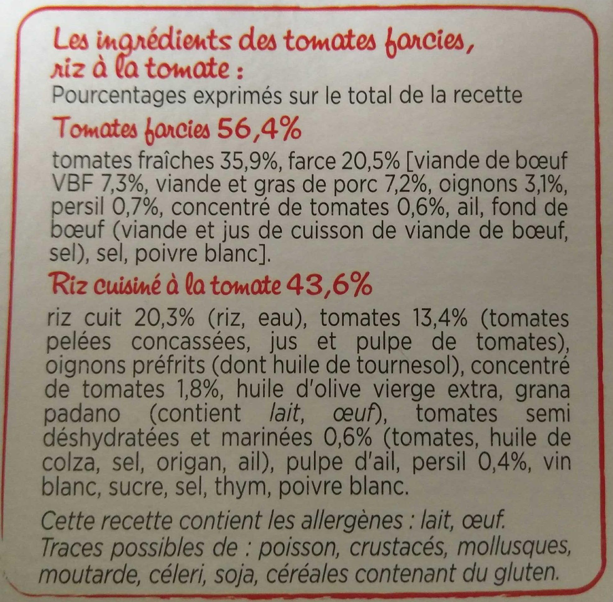 Tomates Farcies, riz à la tomate - Ingrédients