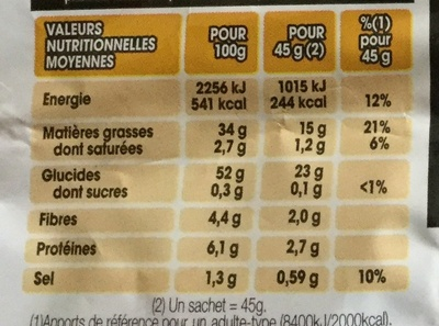 Lay's nature - Nutrition facts - fr