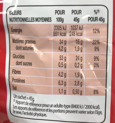 Chips nature - Nutrition facts - fr