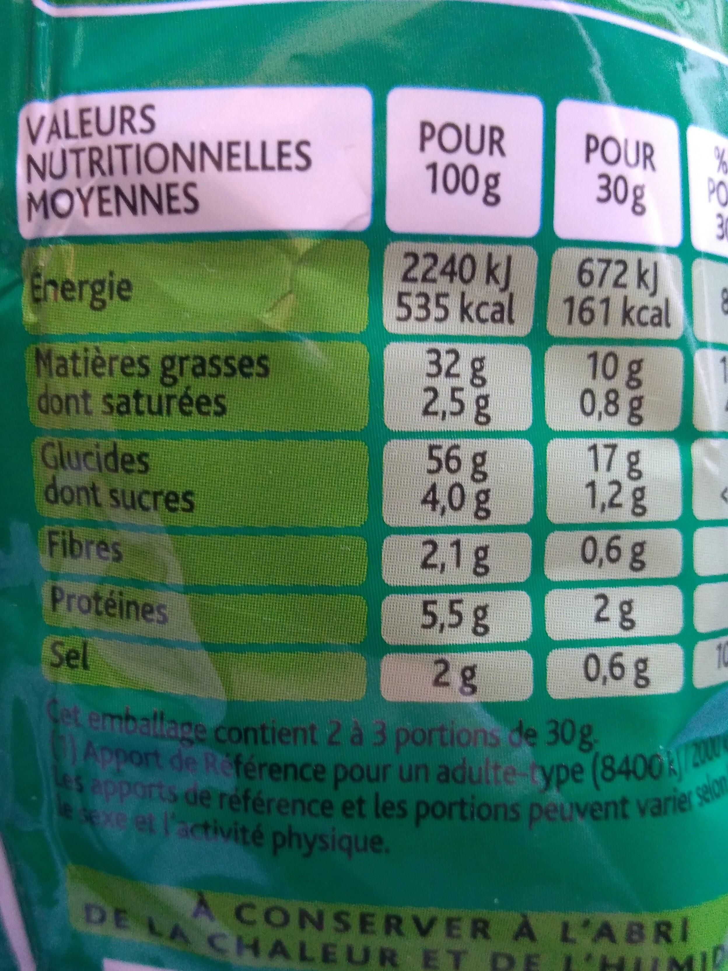 3D's Bugles, Goût Fromage - Informations nutritionnelles
