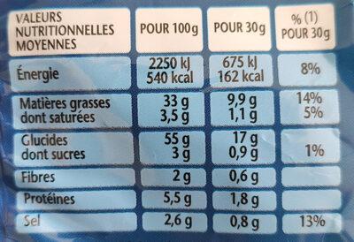 Bénénuts 3D's Bugles goût nature - Valori nutrizionali - fr