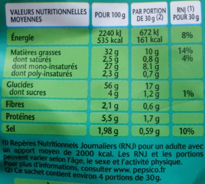 3D's Bugles, Goût Fromage (Format Familial) - Nutrition facts - fr