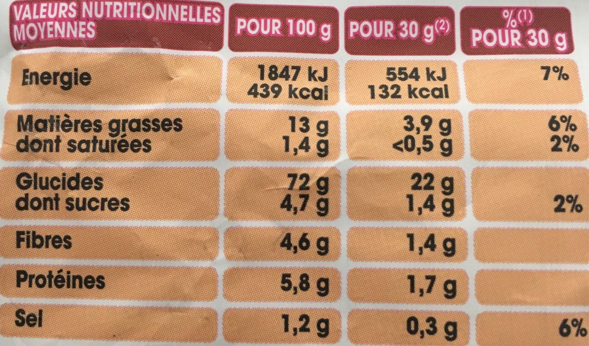 Cuites au four nature - Informations nutritionnelles - fr