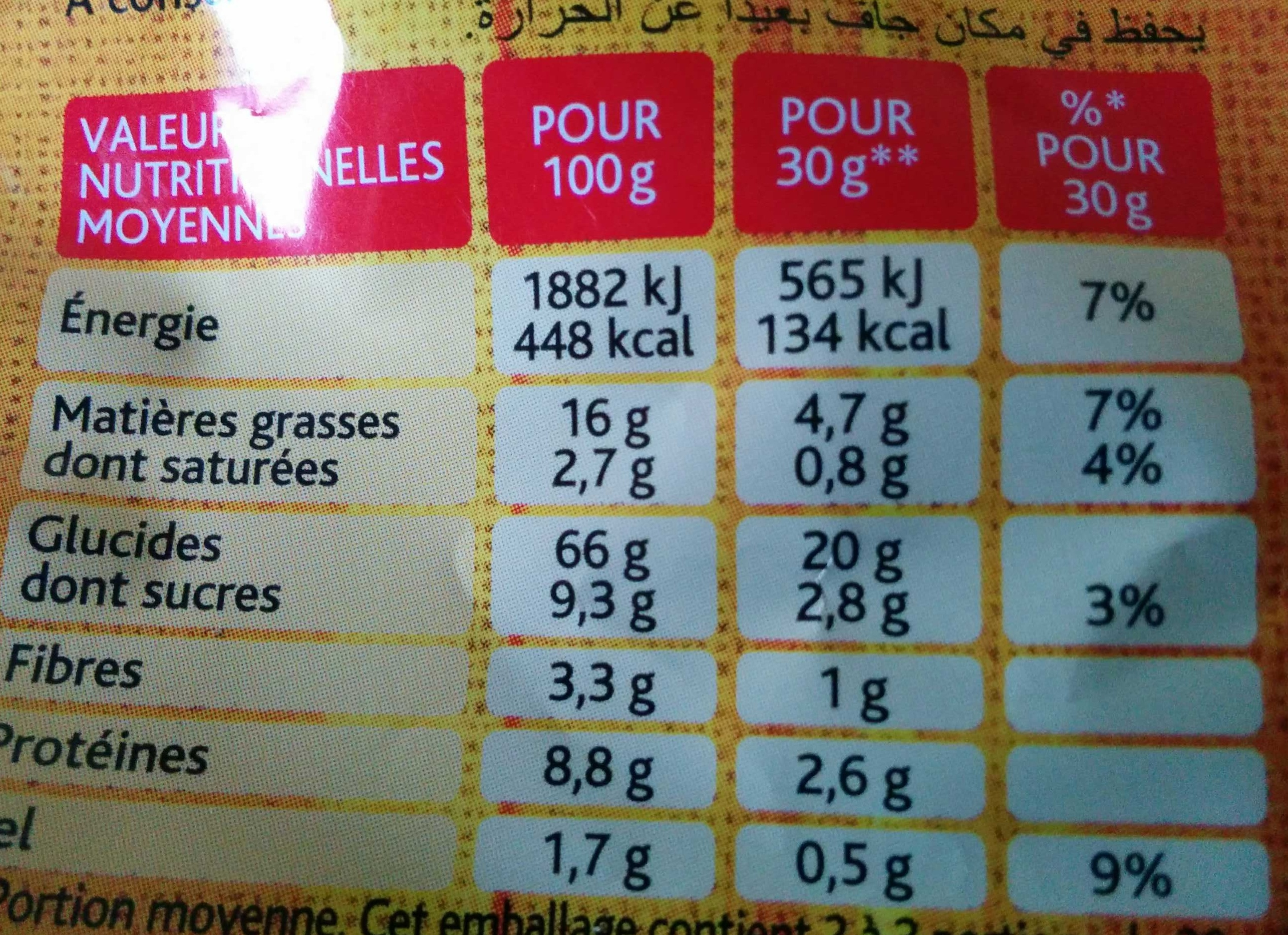 P'tits toasts - Goût Fromage - Informations nutritionnelles - fr