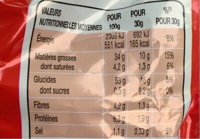Chips Lays Nature - Informations nutritionnelles