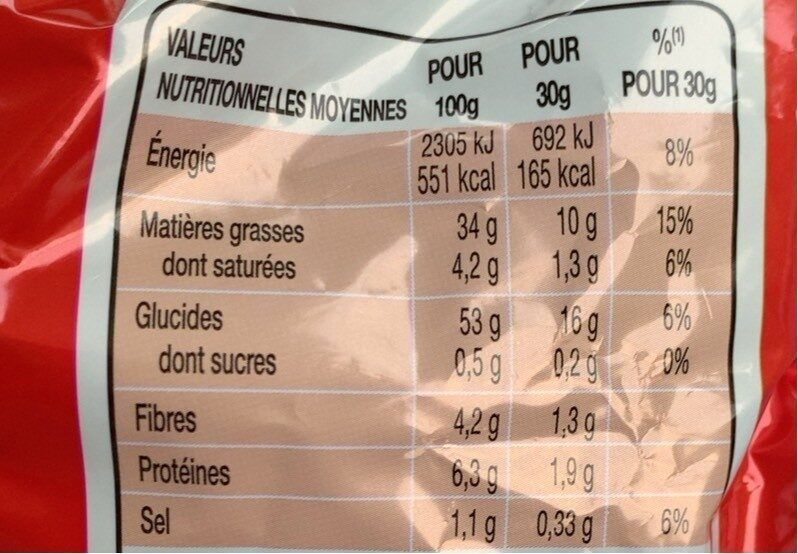 Chips Lays Nature - Informations nutritionnelles - fr