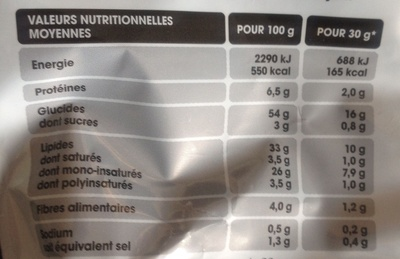 Chips - Saveur Barbecue - Informations nutritionnelles