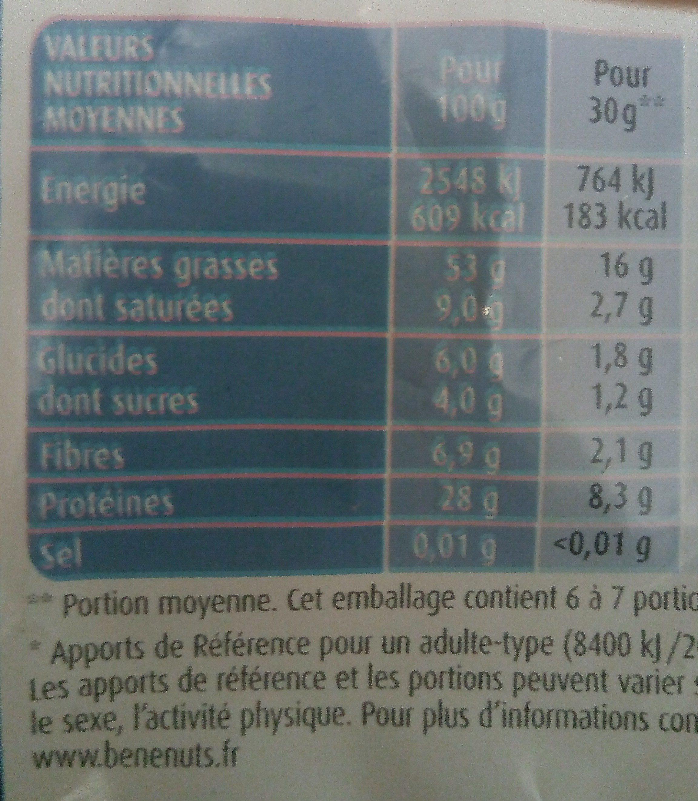 Cacahuètes non salées - Informations nutritionnelles