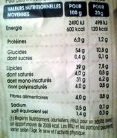 Chips à l'ancienne nature - Informations nutritionnelles