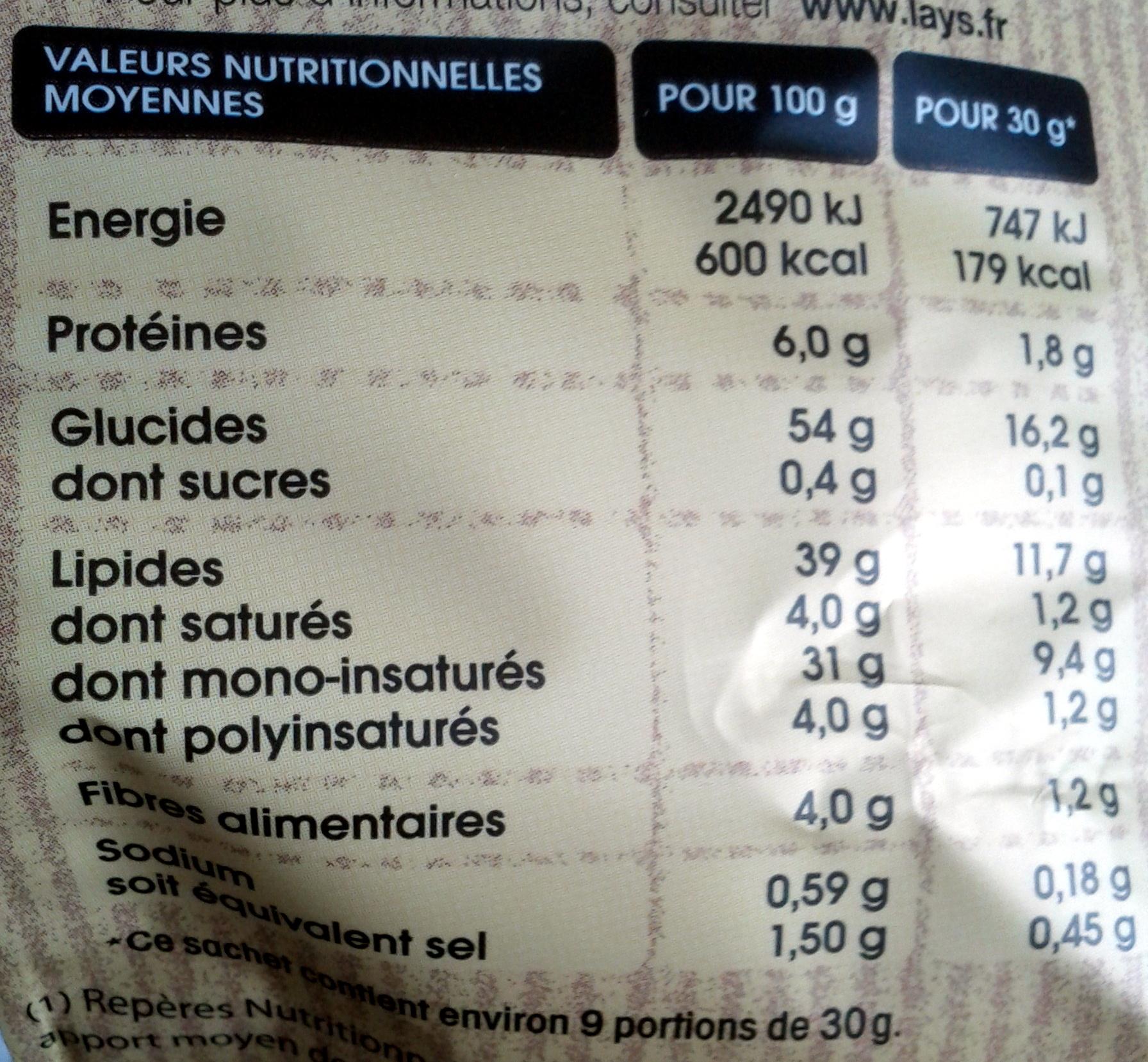 Chips Paysannes nature - Informations nutritionnelles