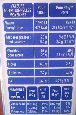 Cruesli chocolat au lait - Voedingswaarden - fr