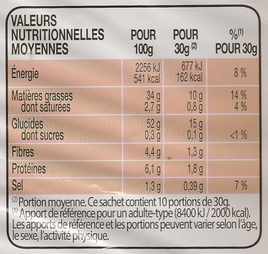 Lay's Nature Format Familial - Informations nutritionnelles