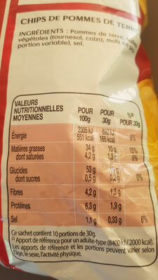Lay's nature format familial 300 g - Informations nutritionnelles - fr