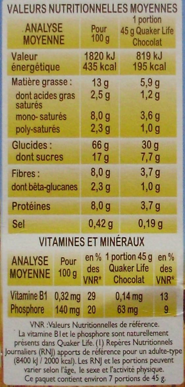 Life chocolat - Pépites & pétales croustillants à l'avoine - Voedingswaarden - fr